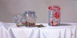 Tarro de Dulces V by Raquel Carbonell -  sized 24x12 inches. Available from Whitewall Galleries